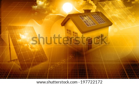 3d render of a house with solar panels - stock photo