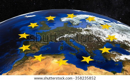 3D render of a image representing Europe viewed from space with european union stars / European Union and Europe viewed from space
