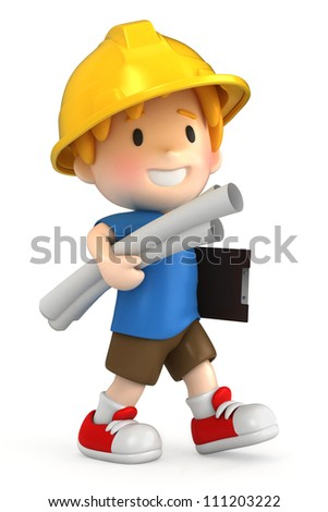 3d render of a little engineer/architect - stock photo