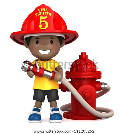 3d render of a little firefighter - stock photo
