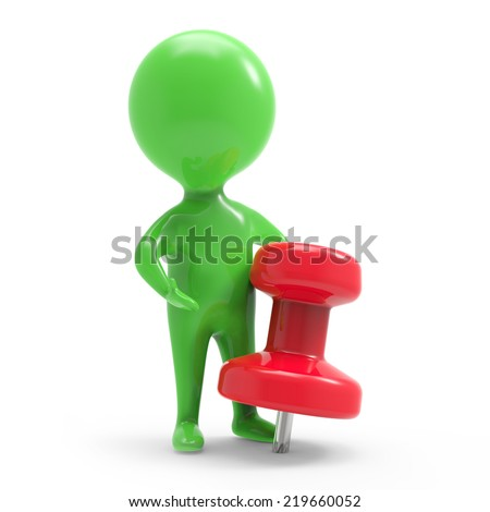 3d render of a little green person with a red pin