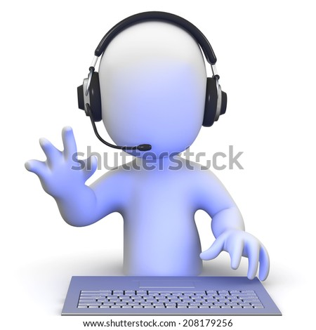 3d render of a little man waving while wearing a headset online