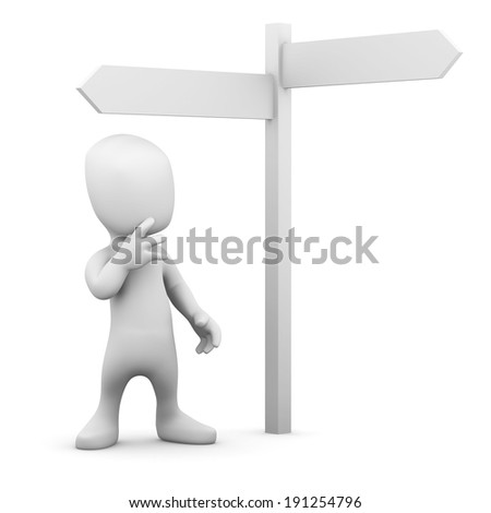 3d render of a little person at a road sign - stock photo