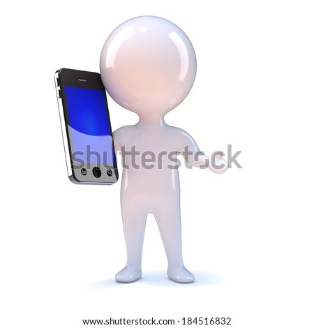 3d render of a little person chatting on a smart phone