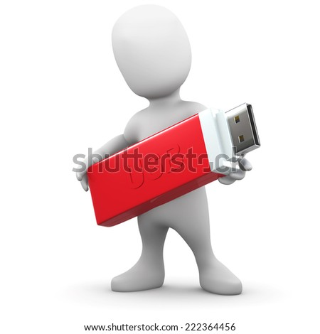3d render of a little person holding a USB memory stick