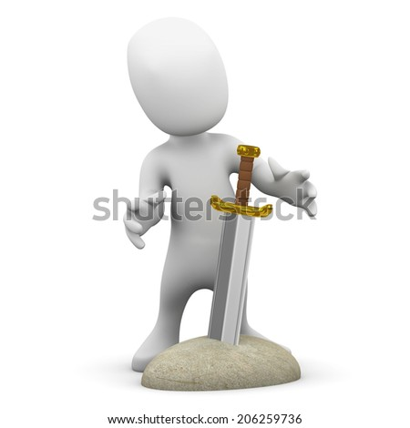 3d render of a little person looking at a sword in a stone