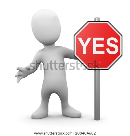 3d render of a little person next to a Yes roadsign