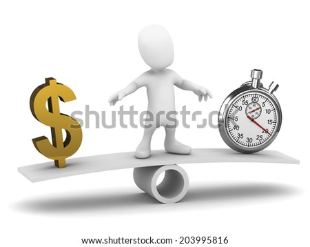 3d render of a little person on a see saw with US Dollar symbol and a stopwatch - stock photo