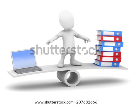 3d render of a little person on a seesaw balancing a laptop and folders - stock photo