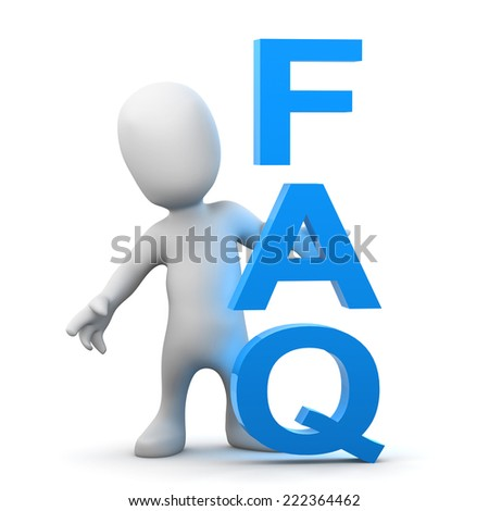 3d render of a little person standing next to the acronym FAQ