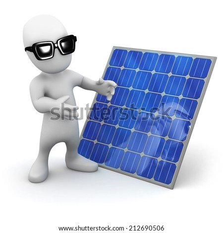 3d render of a little person wearing sunglasses standing next to a solar panel - stock photo