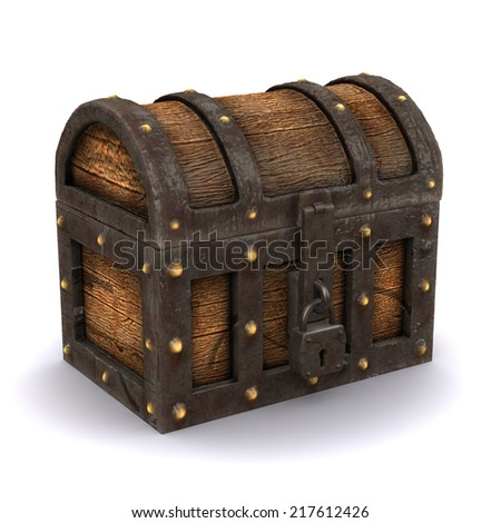 3d render of a locked treasure chest
