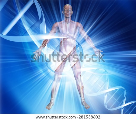 3D render of a male medical figure on an abstract DNA background - stock photo