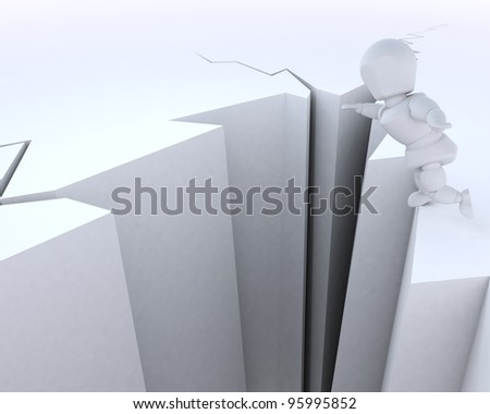 3D render of a man on a cliff edge - stock photo