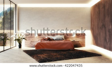 3D render of a modern bedroom