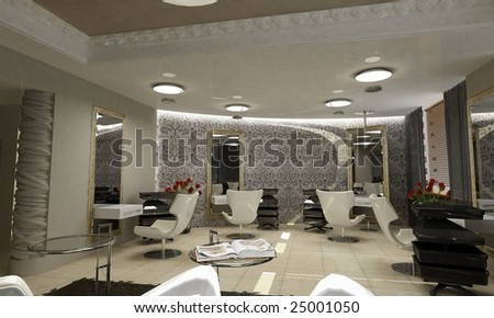 3d render of a modern interior. hairdressing salon