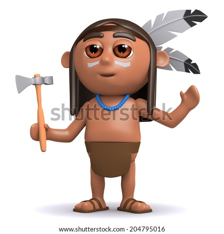 3d render of a Native American Indian boy raising his arms
