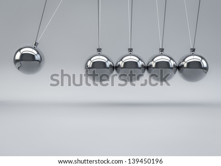3D Render of a Newton Pendulum on white background - stock photo