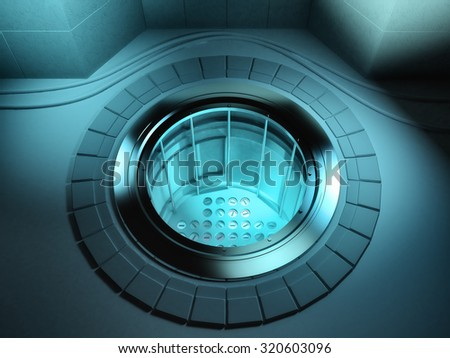 3d render of a nuclear reactor core - stock photo