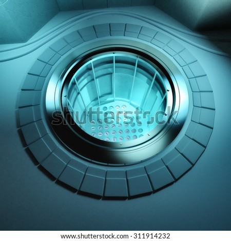 3d render of a nuclear reactor core with rods - stock photo