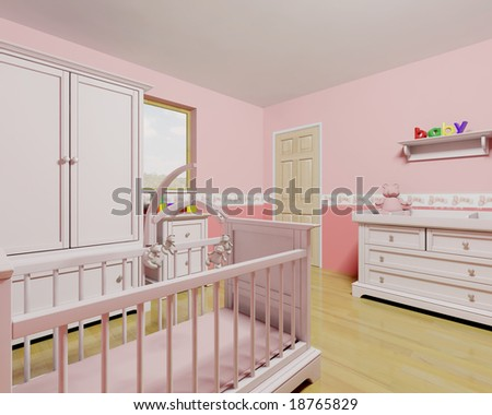 3D render of a nursery for a baby girl