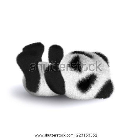 3d render of a panda bear lying on his back - stock photo