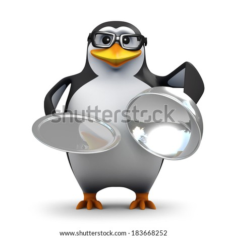 3d render of a penguin offering silver service