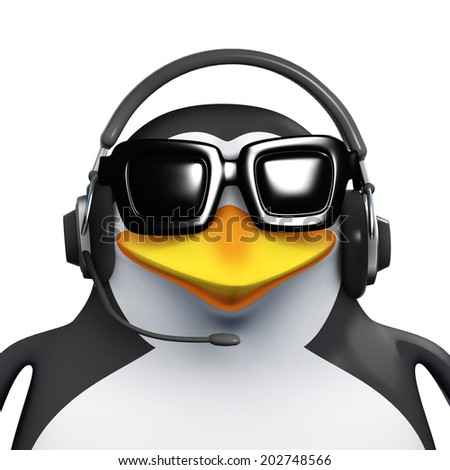 3d render of a penguin wearing a telephone headset