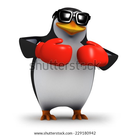 3d render of a penguin wearing red boxing gloves - stock photo