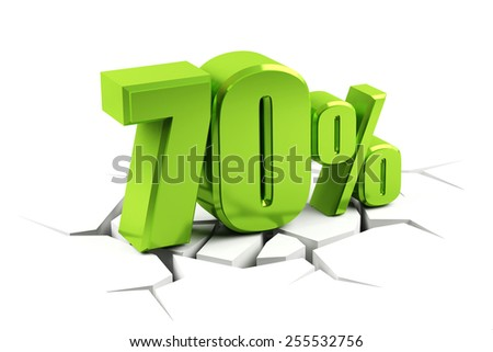 3d render of a 70 percent - stock photo