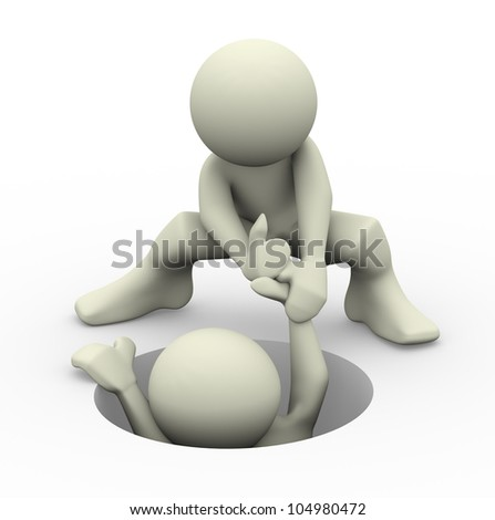 3d render of a person helping another man. 3d illustration of human character people. - stock photo