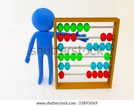 3d render of a person with abacus - stock photo