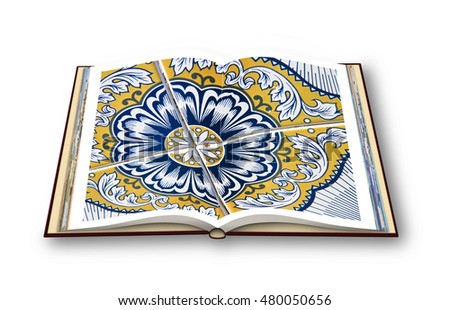 3D render of a photo book isolated on white background with an old typical portuguese colored and decorated ceramic tiles
