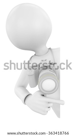 3D render of a photographer pointing to a blank sign - stock photo