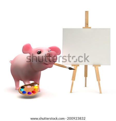3d render of a piglet painting on a canvas - stock photo
