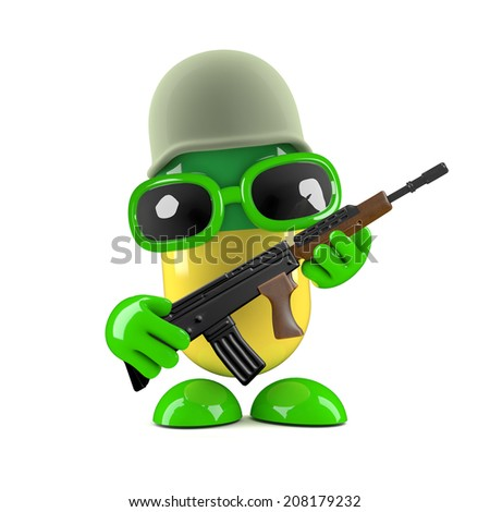 3d render of a pill dressed as a soldier - stock photo