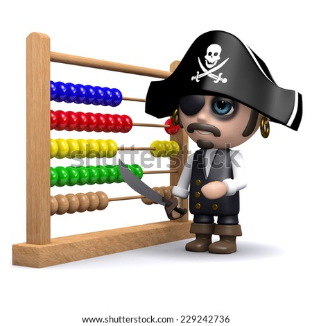 3d render of a pirate with an abacus. - stock photo