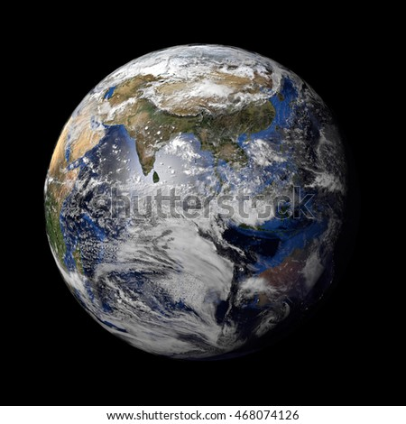 3d render of a Planet Earth model showing city lights at night and sun light at day. Elements of this image furnished by NASA