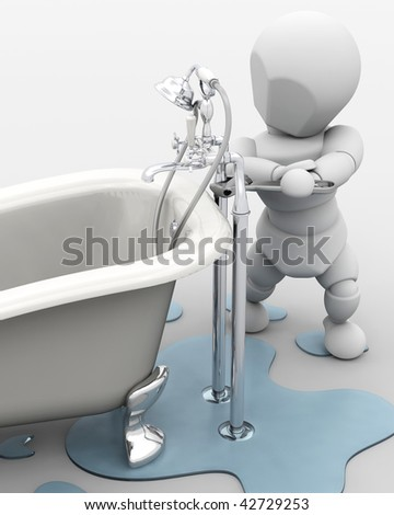 3D render of a plumber fixing a leak - stock photo