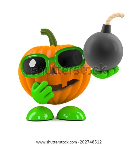 3d render of a pumpkin character holding a bomb with a fuse - stock photo