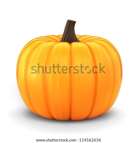 3d render of a pumpkin isolated in a white background - stock photo