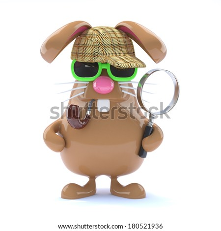 3d render of a rabbit dressed as Sherlock Holmes - stock photo