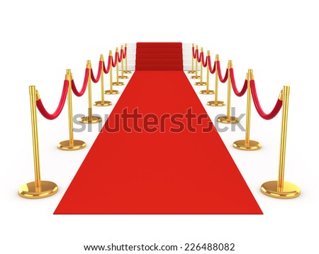 3d render of a red carpet leading to stairs - stock photo