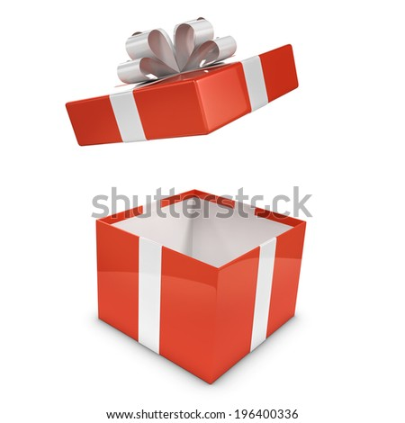 3d render of a red gift box with lid flying off