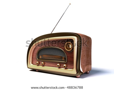 3D render of a retro styled radio on white background