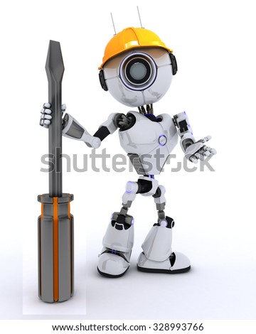 3D Render of a Robot Builder with a screwdriver