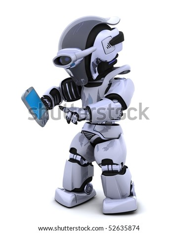3D render of a robot character witha a palm pilot - stock photo
