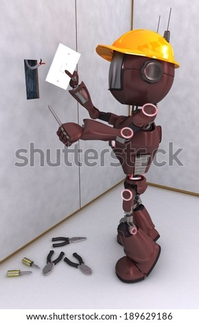 3D Render of a robot electrical contractor - stock photo