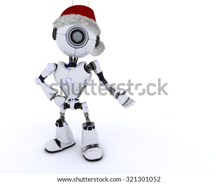 3D render of a Robot in santa hat