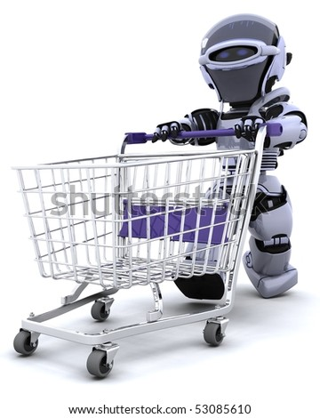 3D render of a robot shopping with a cart